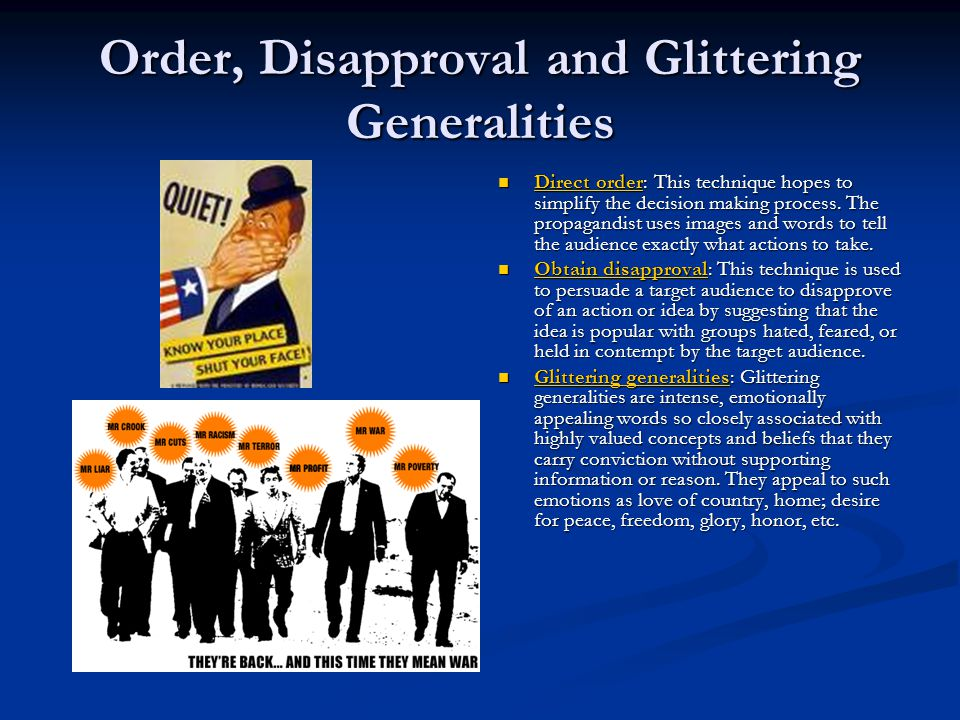 Order, Disapproval and Glittering Generalities