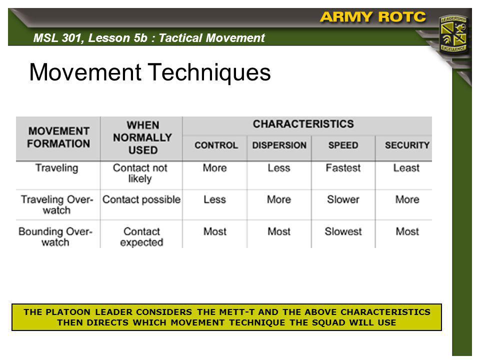 Movement Techniques THE PLATOON LEADER CONSIDERS THE METT-T AND THE ABOVE CHARACTERISTICS THEN DIRECTS WHICH MOVEMENT TECHNIQUE THE SQUAD WILL USE.