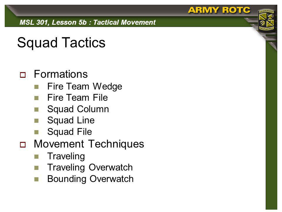 Squad Tactics Formations Movement Techniques Fire Team Wedge