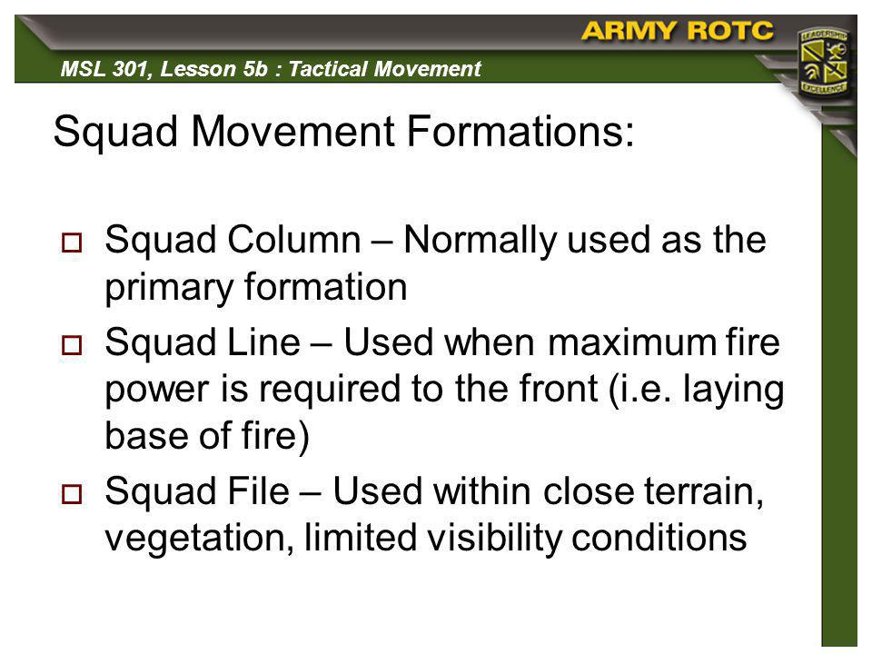 Squad Movement Formations: