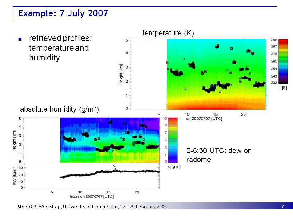 Example: 7 July 2007 retrieved profiles: temperature and humidity