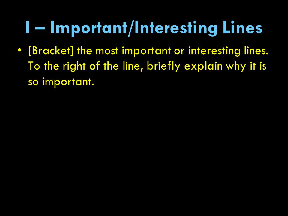 I – Important/Interesting Lines