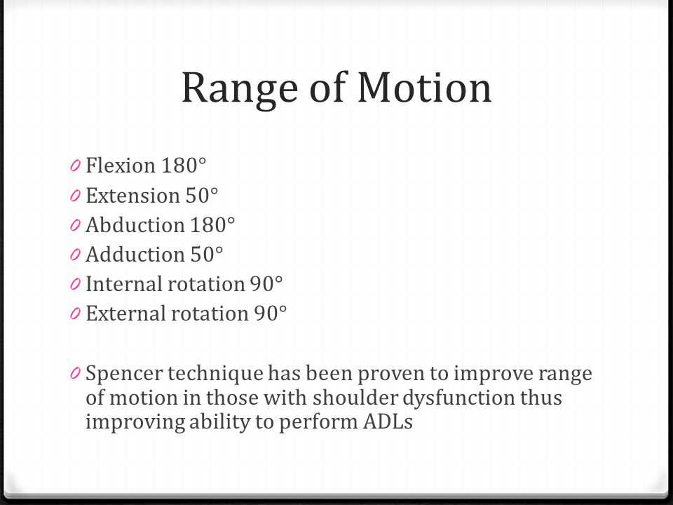 Range of Motion Flexion 180° Extension 50° Abduction 180°