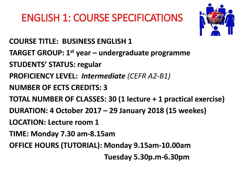COURSE TITLE: English 1 Undergraduate programme - ppt download