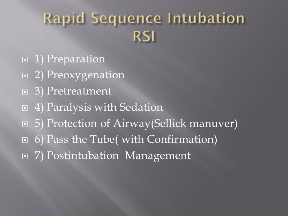 Rapid Sequence Intubation RSI