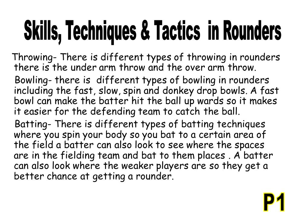 Skills, Techniques & Tactics in Rounders