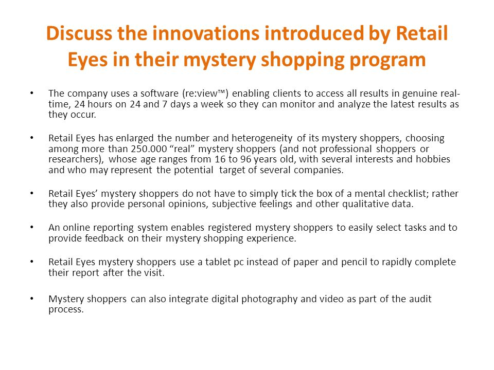 Discuss the innovations introduced by Retail Eyes in their mystery shopping program