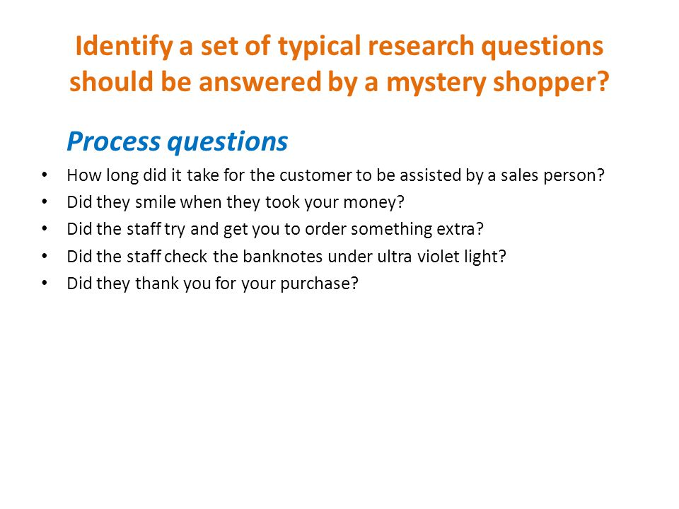 Secret shopper survey questions