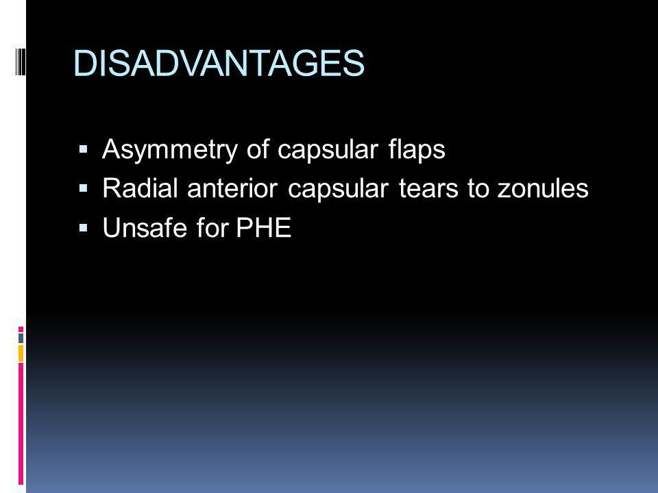 DISADVANTAGES Asymmetry of capsular flaps
