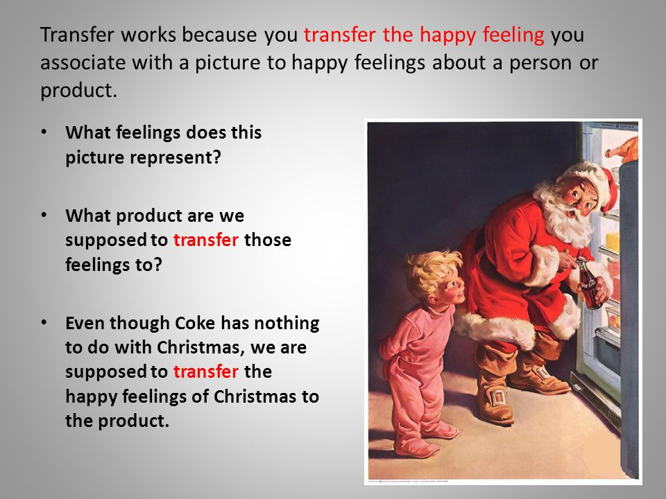 Transfer works because you transfer the happy feeling you associate with a picture to happy feelings about a person or product.
