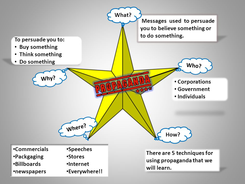 What Messages used to persuade you to believe something or to do something. To persuade you to: