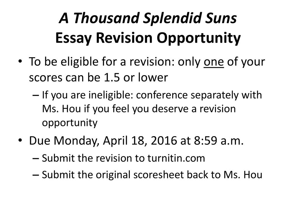 A Thousand Splendid Suns Essay Revision Opportunity  Ppt Download A Thousand Splendid Suns Essay Revision Opportunity