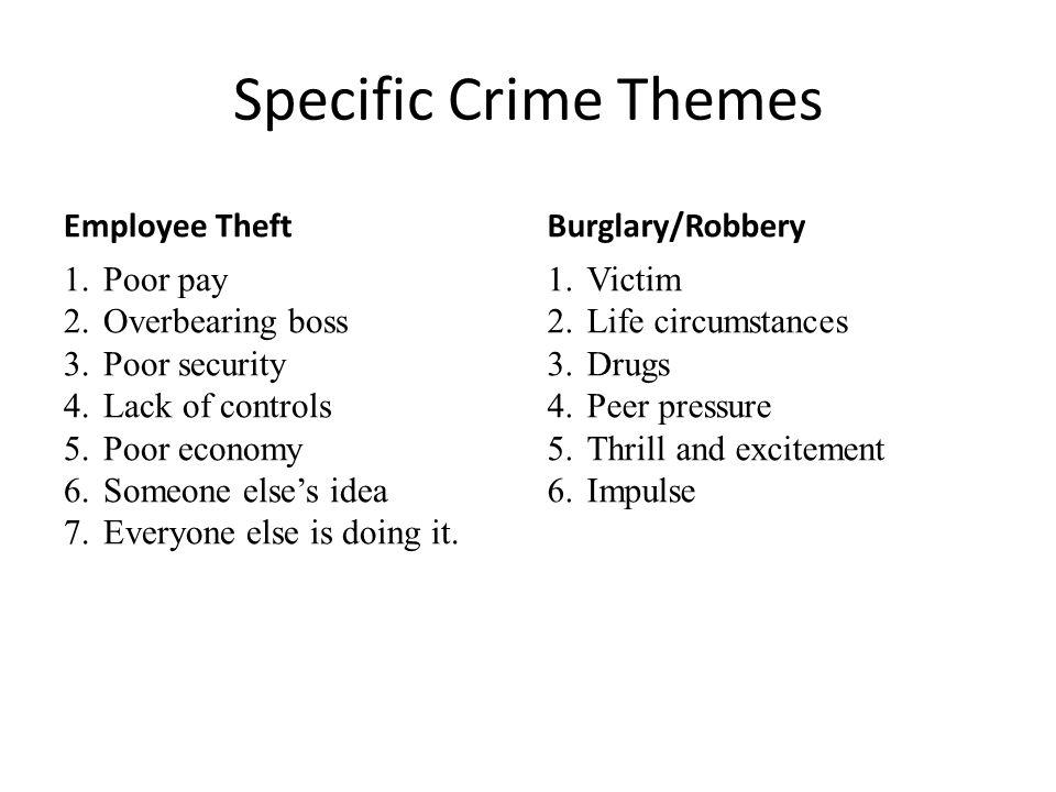 Specific Crime Themes Employee Theft Burglary/Robbery Poor pay