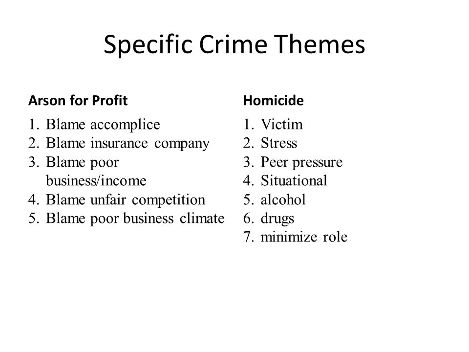 Specific Crime Themes Arson for Profit Homicide Blame accomplice