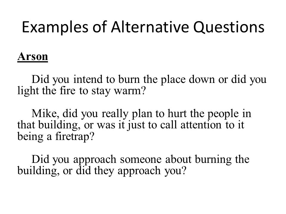 Examples of Alternative Questions