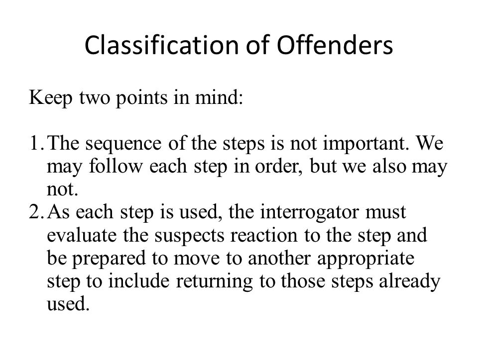 Classification of Offenders