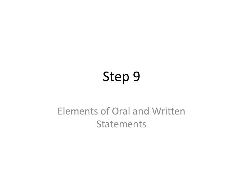 Elements of Oral and Written Statements