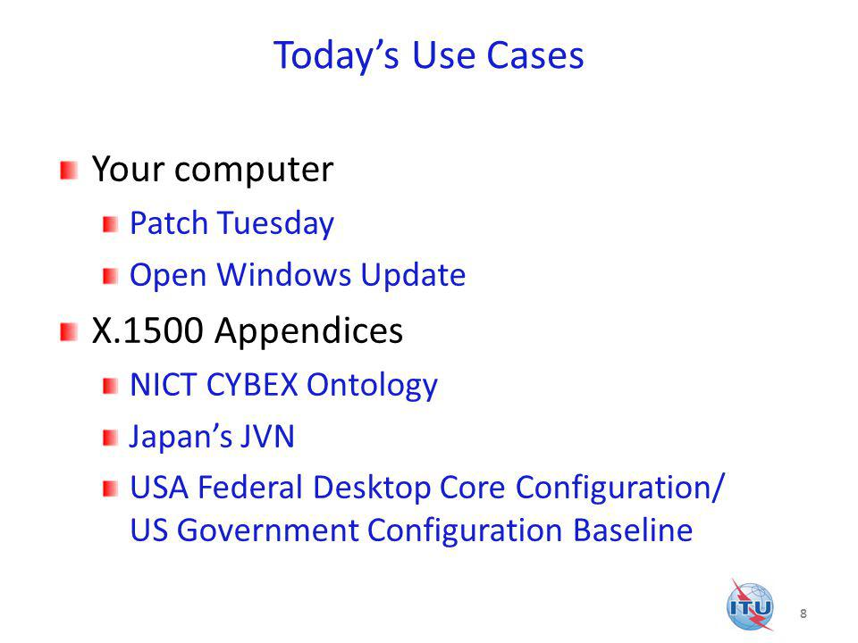 Today's Use Cases Your computer X.1500 Appendices Patch Tuesday