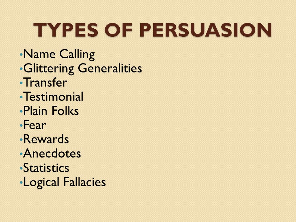 different types of persuasion