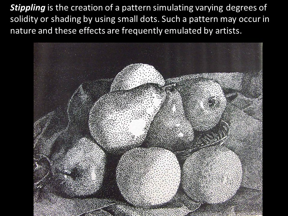 Stippling is the creation of a pattern simulating varying degrees of solidity or shading by using small dots.