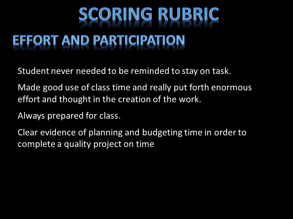 Scoring Rubric Effort and Participation