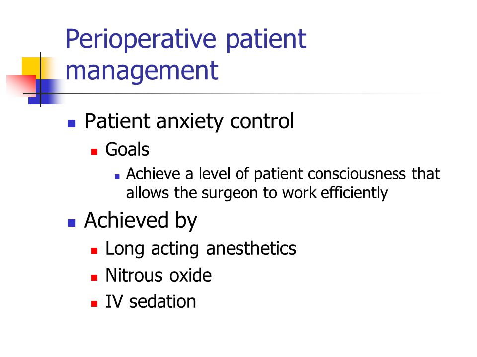 Perioperative patient management