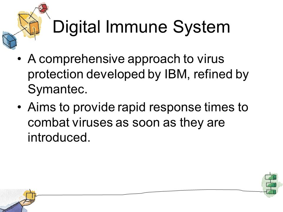 Digital Immune System A comprehensive approach to virus protection developed by IBM, refined by Symantec.