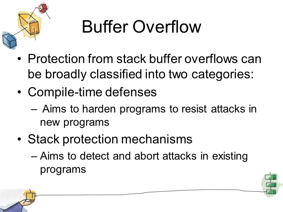Buffer Overflow Protection from stack buffer overflows can be broadly classified into two categories: