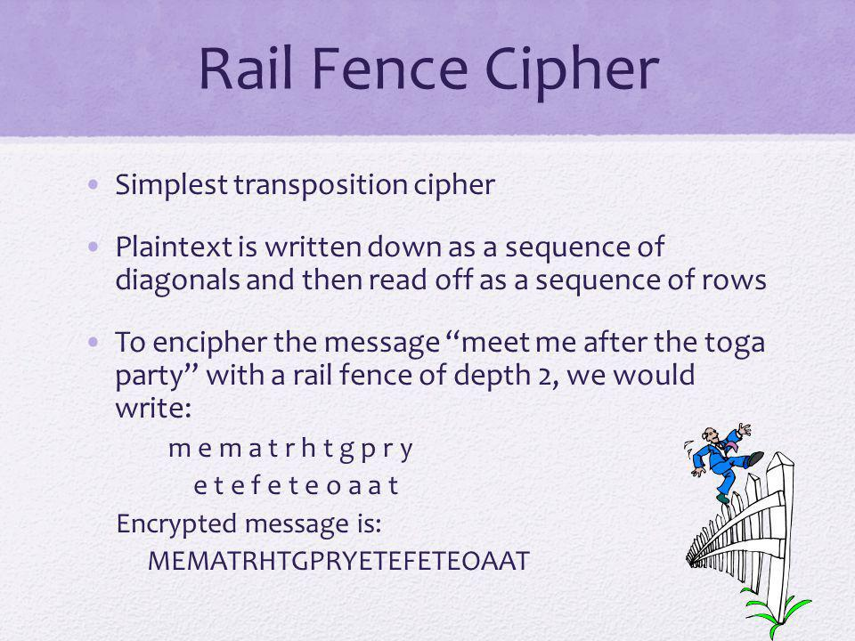 Rail Fence Cipher Simplest transposition cipher