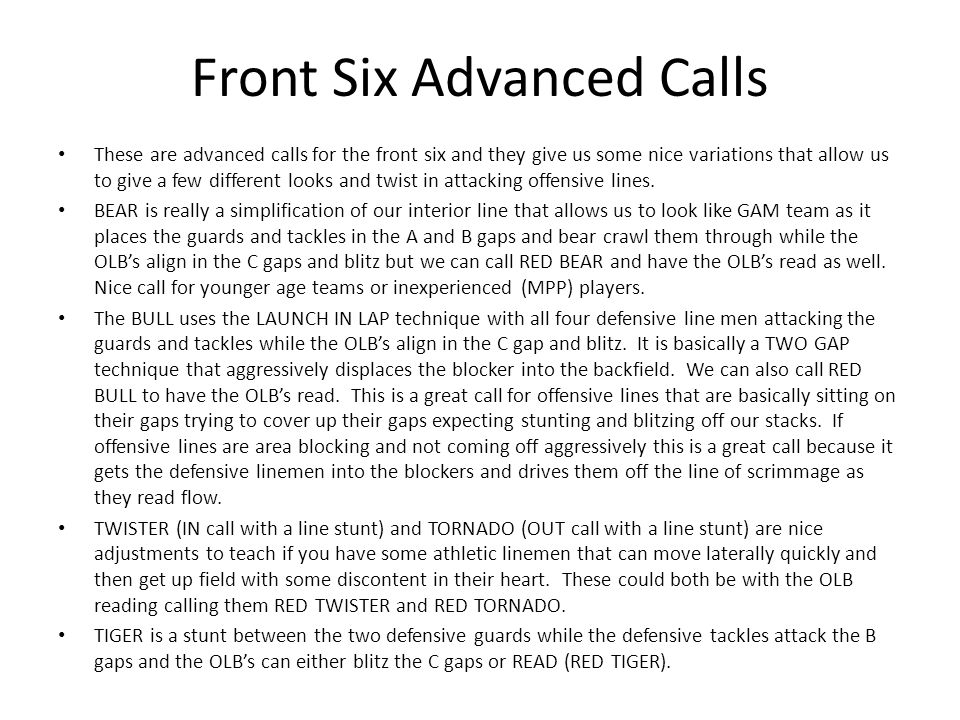 Front Six Advanced Calls