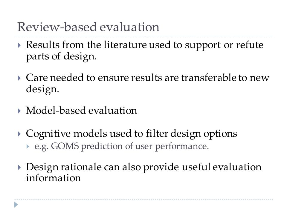 Review-based evaluation