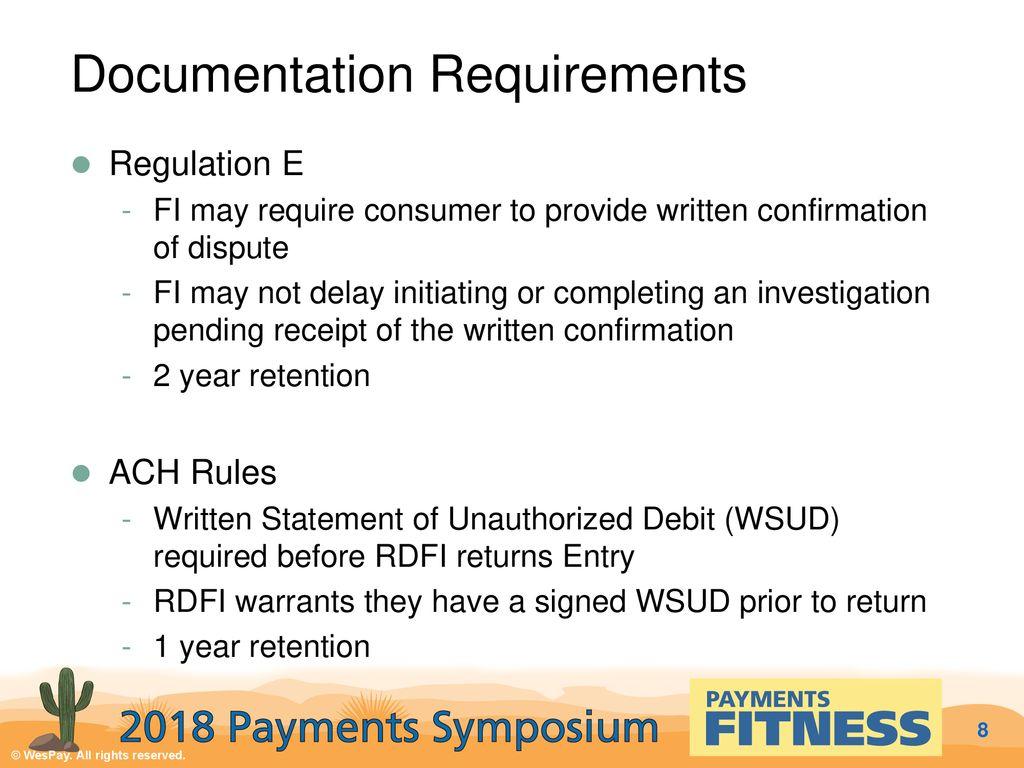 8 Documentation Requirements