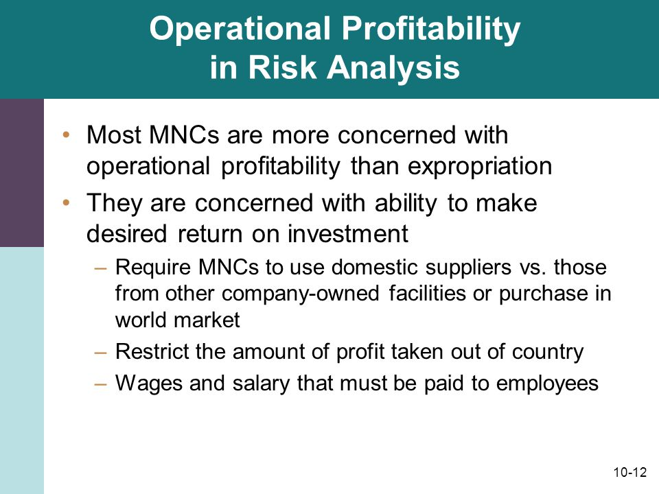 Operational Profitability in Risk Analysis