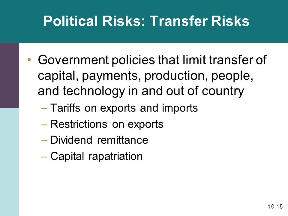 Political Risks: Transfer Risks