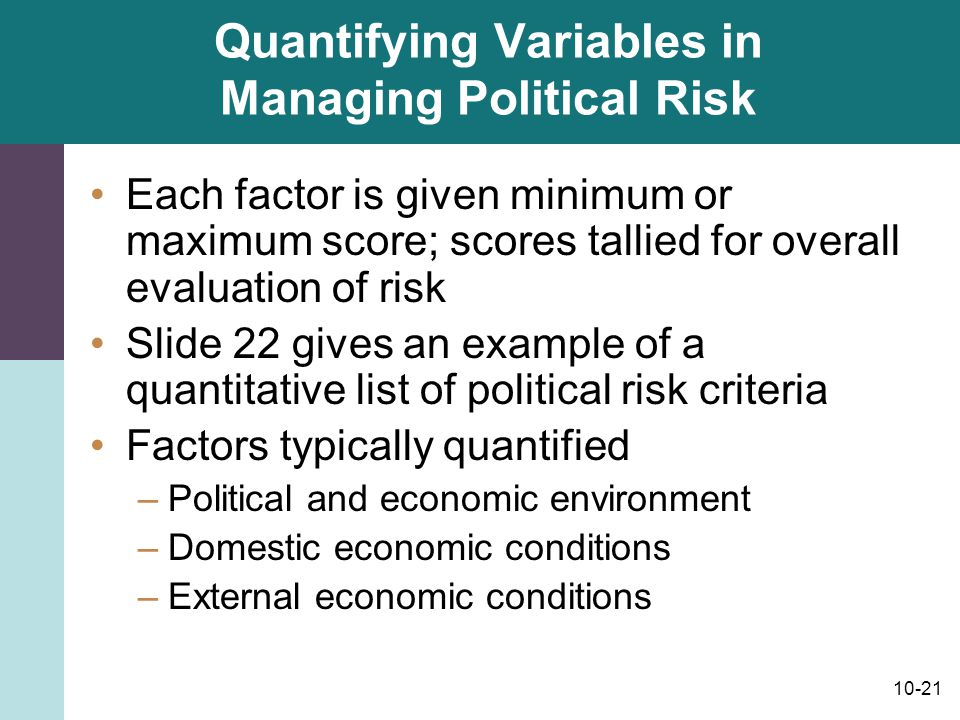 Quantifying Variables in Managing Political Risk