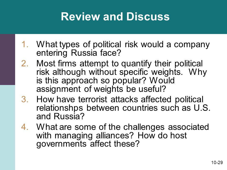 Review and Discuss What types of political risk would a company entering Russia face