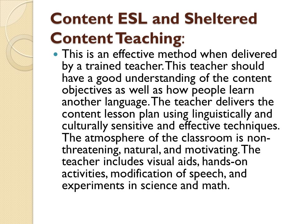 Content ESL and Sheltered Content Teaching: