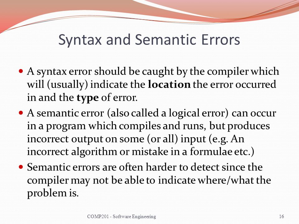 Syntax and Semantic Errors