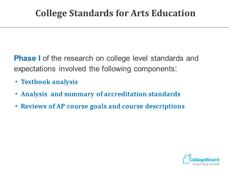 College Standards for Arts Education