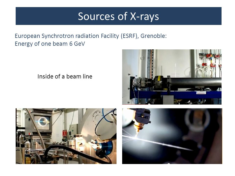 Sources of X-rays European Synchrotron radiation Facility (ESRF), Grenoble: Energy of one beam 6 GeV.