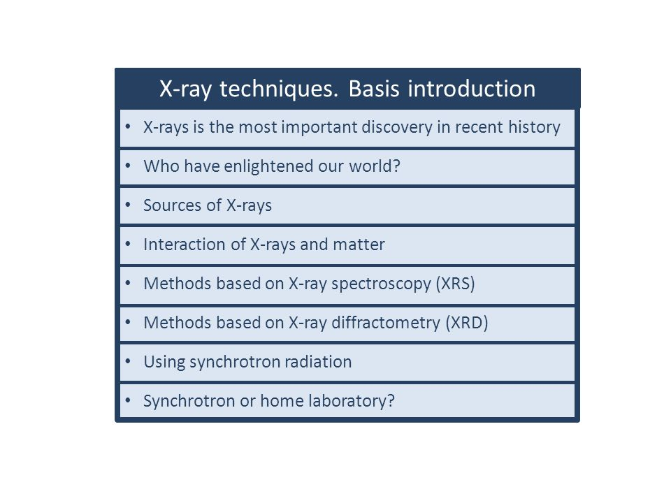 X-ray techniques. Basis introduction