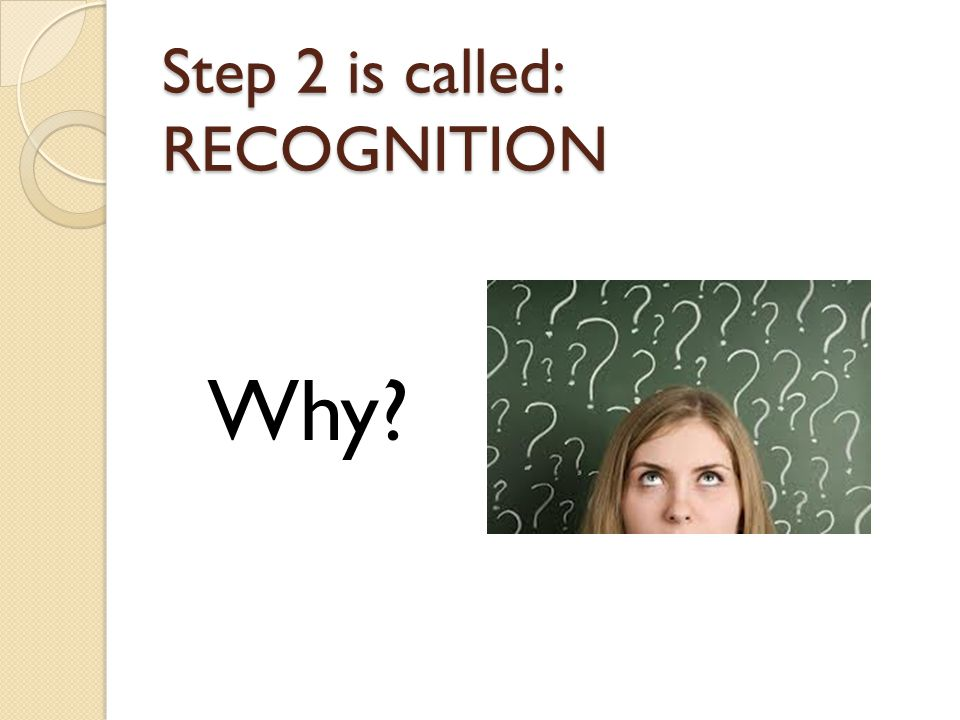 Step 2 is called: RECOGNITION