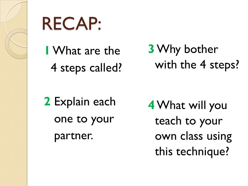 RECAP: 1 What are the 4 steps called 2 Explain each one to your partner.