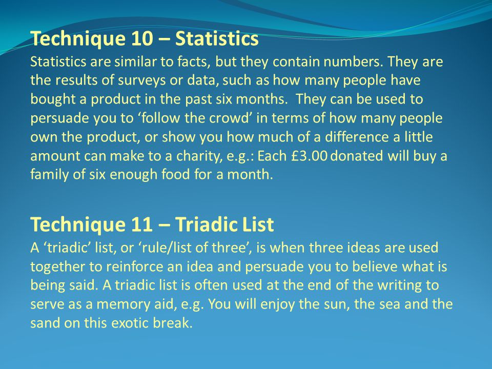 Technique 10 – Statistics
