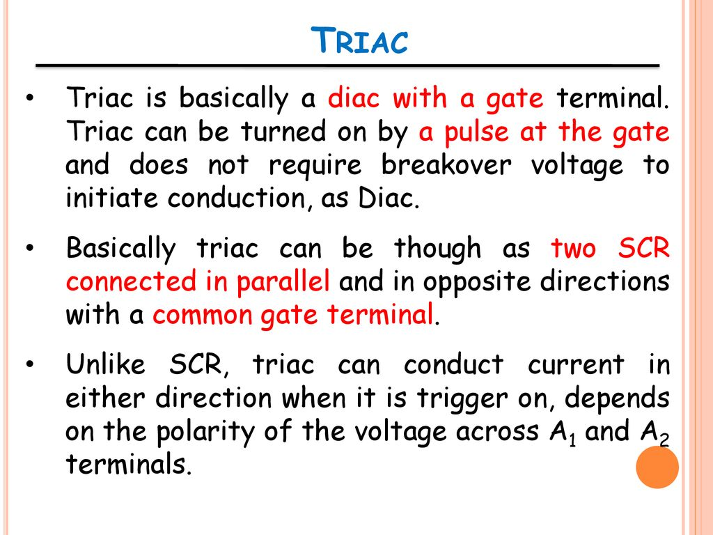 Ent 162 Analog Electronics Ppt Download Triac Triggering Circuit Using Diac Here In This The Light