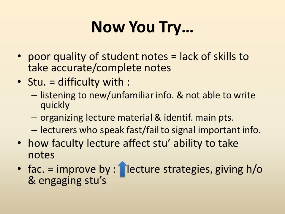 Now You Try… poor quality of student notes = lack of skills to take accurate/complete notes. Stu. = difficulty with :