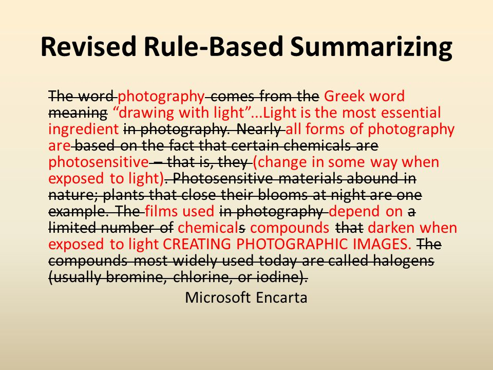 Revised Rule-Based Summarizing