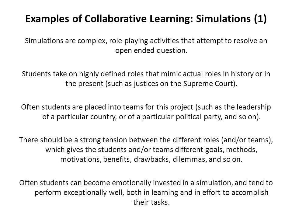 Examples of Collaborative Learning: Simulations (1)