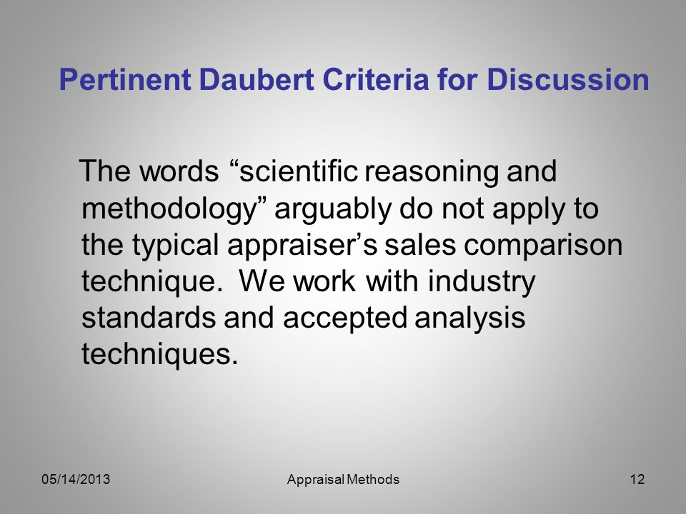 Pertinent Daubert Criteria for Discussion