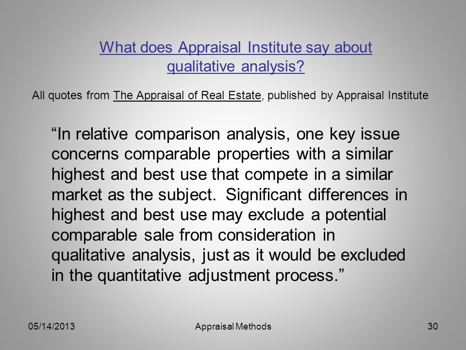 What does Appraisal Institute say about qualitative analysis